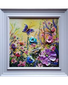 luxury fine art, butterflies and wild flowers interior living room decor ideas, sculptures of poppies and beautiful florals.