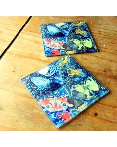 Diamond Butterfly Glass Coasters|  Art Drink Mats| Butterflies on Black Glass Table and Kitchen Ware