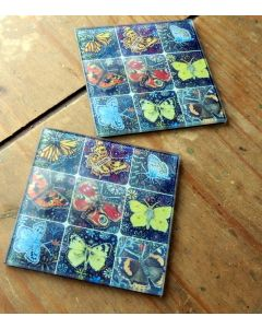 Glass Drinks Coasters |Butterfly Artwork Wine Mats Decorative Home and Kitchen Ware Glass Tiles