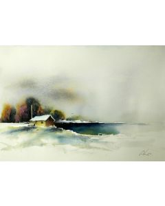 By a freezing lake. Original watercolour painting.