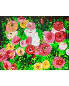 Rose bloom, pink,red, yellow roses in a garden