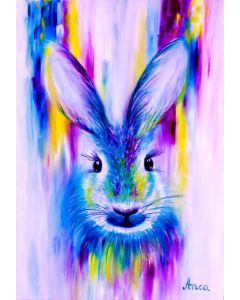 Hare painting, hare oil painting, animal painting, hare wall art, hare wall decor
