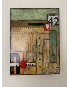 RU42, mixed media abstract collage, wall art