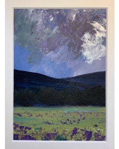 Storm over the lavender fields - original oil painting within a mount