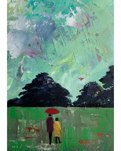 We don't mind about the rain - The Daily Walk ( framed original oil painting )