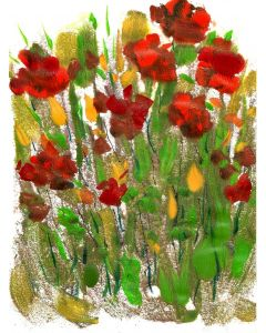 Canna flowers floral meadow - Contemporary painting acrylics on Croquis paper