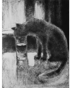 A Cat Drinking 9x12inches