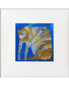 Expressive tabby Cat on Blue