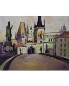 Charles Bridge looking towards Prague Old Town and the castle