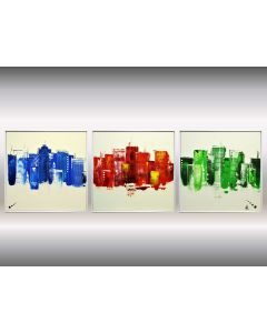 Colourfull City - Abstract City Paintings - Framed Canvas Wall Art
