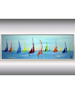 Colorful Summer - Acrylic painting in frame, sailboat painting, original