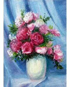 Vase of Pink flowers Acrylic Floral Gift liGHt painting- 6