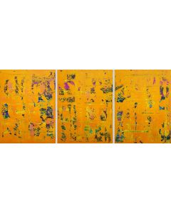 Crazy April No.8- triptych orange abstract painting