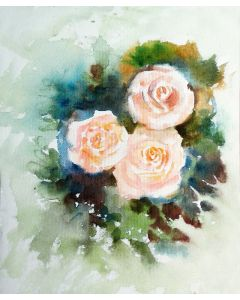 Bunch of threeroses watercolour painting