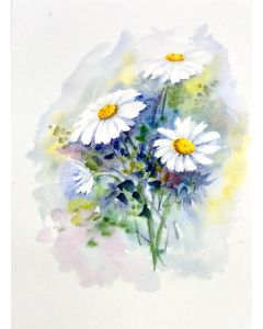 Daisies Painting, White Floral Watercolor Daisies