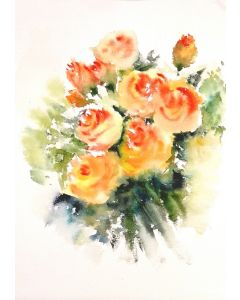 Watercolor Roses Painting Cream and Orange Roses Flowers Floral painting