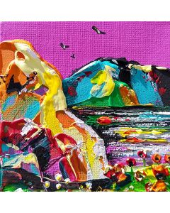 surreal landscape painting of the lake district, Cumbria in bright colors and thick paints.