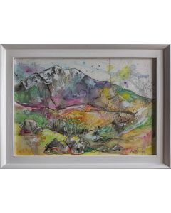watercolour painting of cumbrian fells and mountains, framed lake district art.