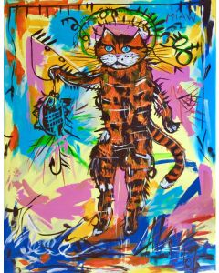FISHING CAT A VERSION OF FAMOUS PAINTING BY JEAN-MICHEL BASQUIAT