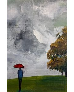 The red umbrella - original oil painting in a mount