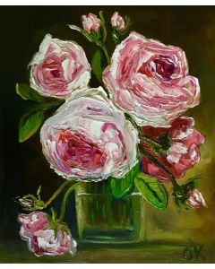 Original oil painting , coral roses in a vase