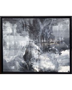 LARGE PAINTING BETWEEN THE BLACK AND DIVINE 4 LIGHTSCAPE MINDSCAPE BLACK GREY AND WHITE ABSTRACT BY O KLOSKA
