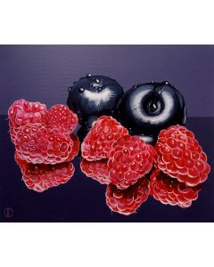 Still life Raspberries And Plums