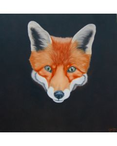 Sly. Oil on canvas fox painting.