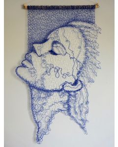 Blue Lace Face Wall Hanging 2