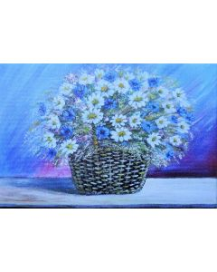 Summer Flowers in a Basket. Limited Edition Print.