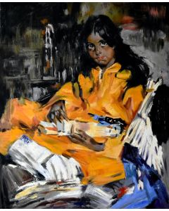 """Work of study: a girl portrait based on """"Kemonceter"""" by Nicolai Fechin"""