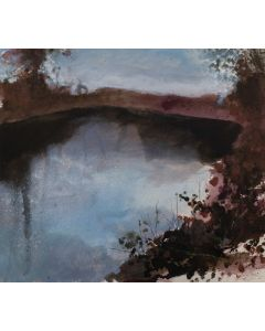 Twilight, Snow Underfoot, My Equiptment Is Staring To Freeze. An original watercolour and acrylic winter snow scene landscape painting of the River Avon on paper. From 'Beside the Avon' art series by Jonathan Pitts. This series is about countryside walks