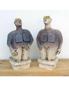 Pair of Stargazer Figures - Ceramic Sculptures - Earthy Brown