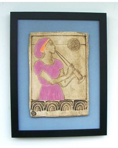 Euterpe - Muse of Music - (Framed Ceramic Panel) pink / orange