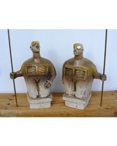 Pair of Sentinel Figures - Ceramic Sculptures