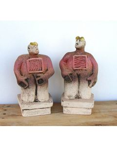 Pair of Stargazer Figures - Ceramic Sculptures - Cherry Red