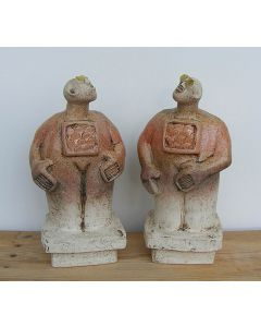 Pair of Stargazer Figures - Ceramic Sculptures - Peach colour