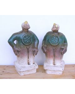 Pair of Stargazer Figures - Ceramic Sculptures - Turquoise Green