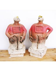Pair of Stargazer Figures - Ceramic Sculptures - Warm Cherry Red