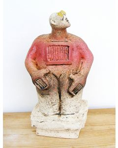 Stargazer Figure - Ceramic Sculpture - Warm Cherry Red (2)