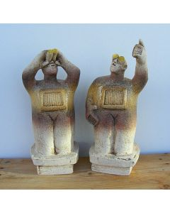 UFO Watchers - Ceramic Sculptures - (Pair) - Straw Colour