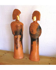 Pair of Noble Figures (Terracotta Burnished & Smoked)