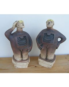 Pair of Stargazer Figures - Ceramic Sculptures - Reddish Earthy Brown