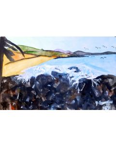Beautiul beach and country scene (UNFRAMED)