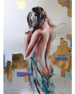 Desire -Mixed Media Painting on Paper-Woman Painting on Paper