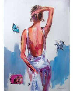 White Dress - Woman Painting on Paper