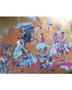 Behind the Curtains -Ballerina Acrylic Mixed Media Painting on Canvas