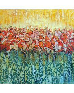 Spring - Abstract contemporary painting with gold and bronze leaf