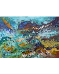 Large abstract painting art, with gold leaf