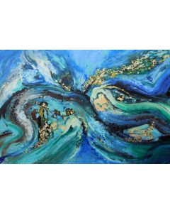 Large abstract painting art, with gold leaf - Summer
